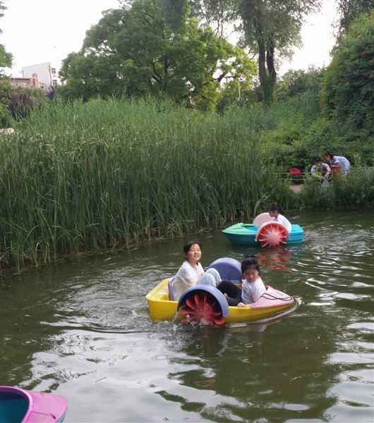 糯米去竹林边的小溪边玩耍,仙桃还让我们坐了小船,搞得我俩浑身是图片